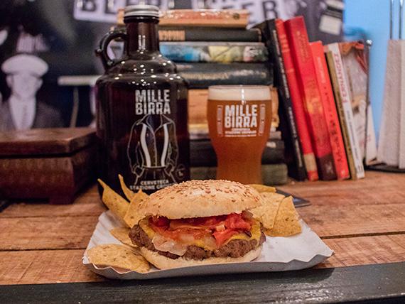 Burger + cerveza tirada 1 L