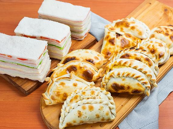 Promoción - 12 Empanadas a elección + Sándwiches surtidos (12 unidades)
