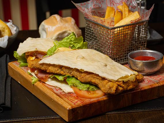 Sándwich de milanesa de ternera, pollo o hamburguesa primavera