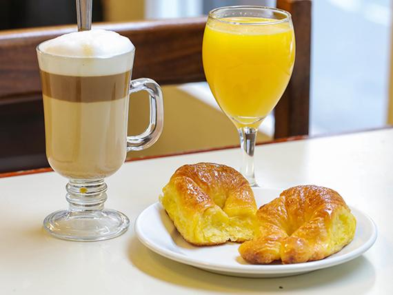 Desayuno 1 - 2 medialunitas + jugo de naranjas + cortado o café