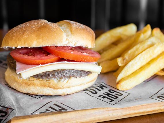 Combo napolitano - Hamburguesa 165 g de carne + papas fritas