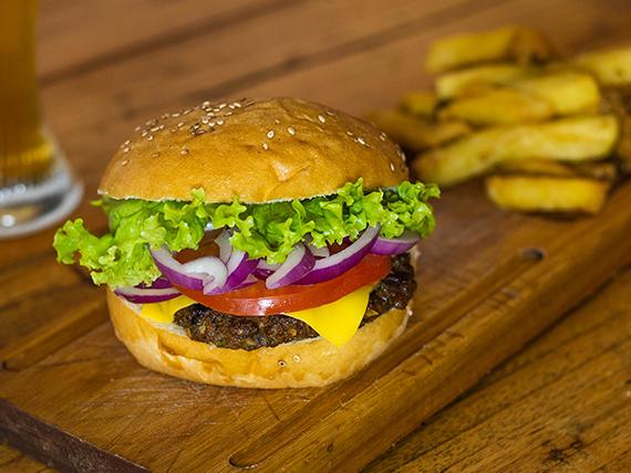 Classic burger con papas fritas