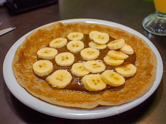 Panqueque dulce con dulce de leche y banana