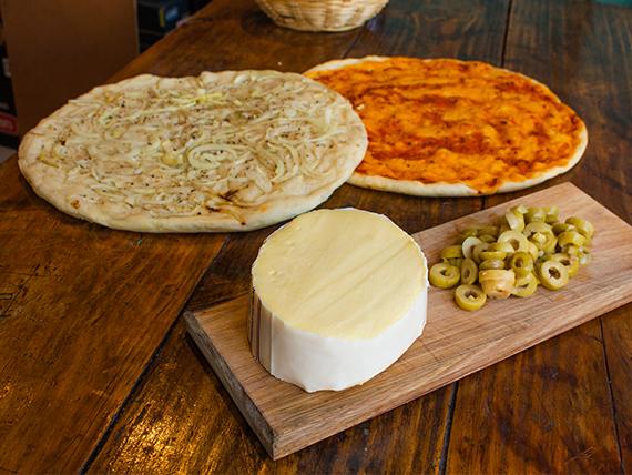 Promo pizza - 2 pre pizzas + 500 g de queso cremoso + aceitunas verdes