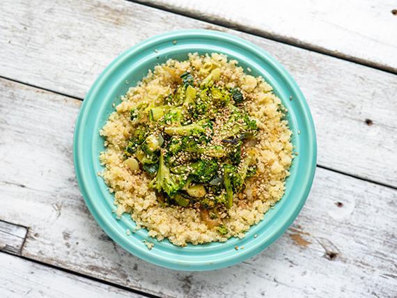Wok  de quinoa cocida con vegetales