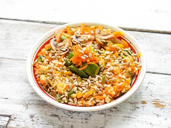 Wok de arroz yamani con hongos shitake