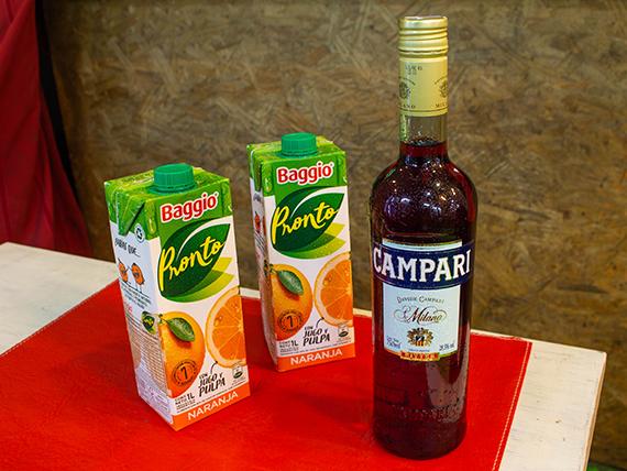 Promo - Campari 1 L + 2 jugos Baggio 1 L