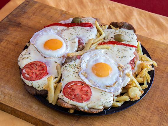 Milanesa napolitana al plato con papas fritas (para 2 personas)