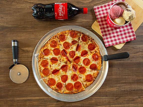 Combo lunch - Pizza familiar + soda 1 L + helado XXL