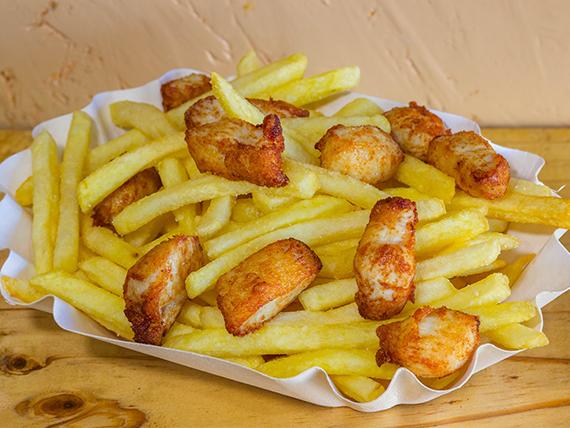Papas fritas con pollo individual