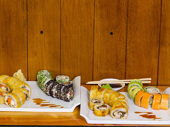 Promo sushi 4 - 40 cortes surtidos (20 fríos y  20 calientes)