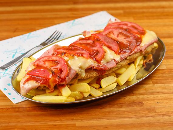 Mega mila napolitana para dos + fritas