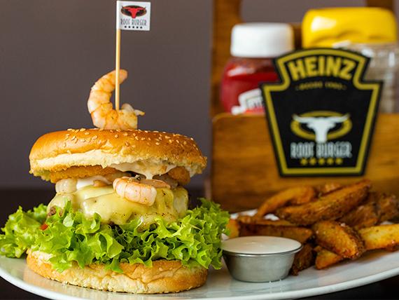 Shrimp burger con papas rústicas y salsa
