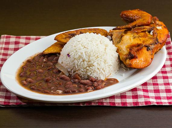 Pechuga ala con arroz blanco, menestra del día, tajada + Soda