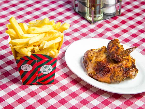 Combo 4 - 1/4 pollo asado (pechuga) + papas fritas chica + bebida en lata