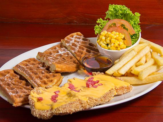 Waffle especial con pollo chang