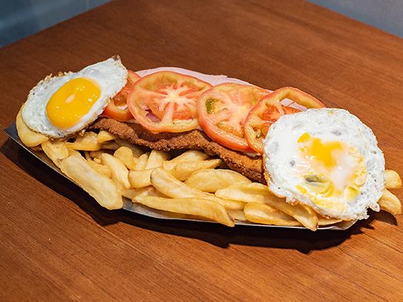 Combo - Super milanesa napolitana + papas fritas + huevo frito
