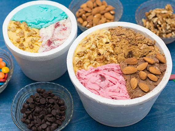 Promoción Sugar Crunch - 1 kg de helado + 1/2 kg de helado + 4 tacitas de regalo