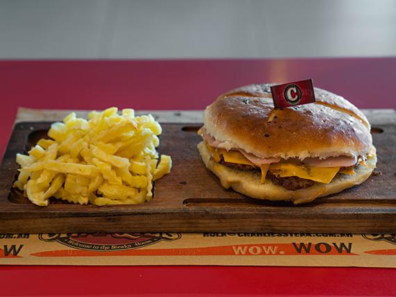 Hamburguesa con jamón y queso