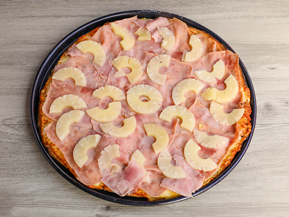 Pizzeta familiar hawaiana (42 cm)