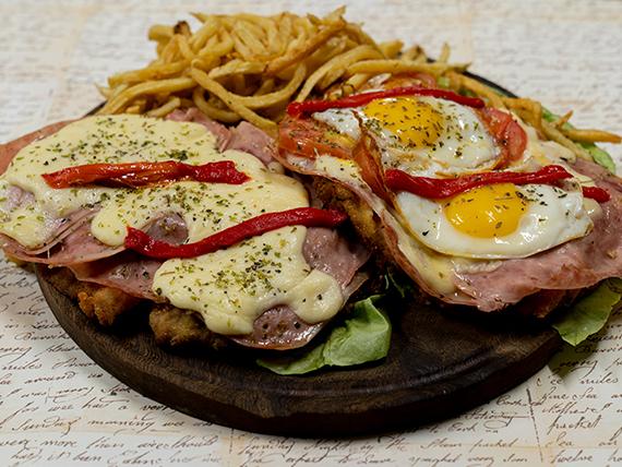 Promo - Milanesa super Búho + papas fritas para dos personas