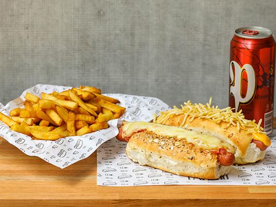 Combo - 2 panchos gourmet + papas fritas + cerveza a elección