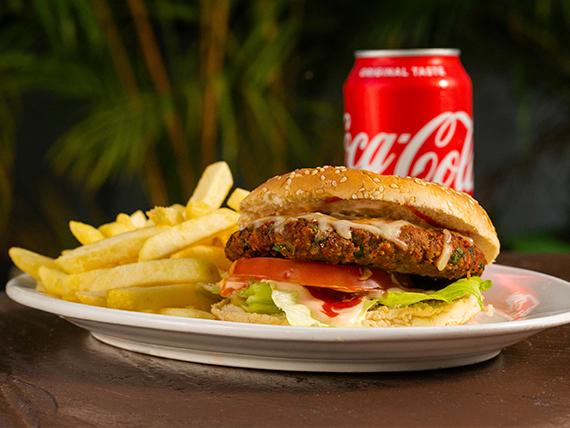 Combo - Hamburguesa + papas fritas + Coca Cola 335 ml