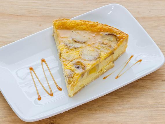Porción tarta plátano toffe