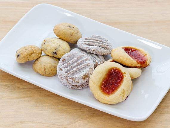 Porción de galletas de mantequilla variadas (100 g)