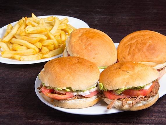 Promoción 2 - 4 Sándwiches de carne mechada italianos + Papas fritas 500 g + Bebida 1.5 L