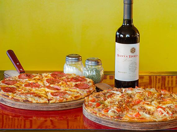 Promo - 2 pizzas a elección + bebida 1.5 L