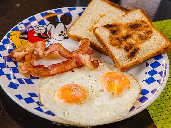 Desayuno americano salón de la justicia - 2 huevos al gusto + pan tostado + café + mantequilla y mantequilla