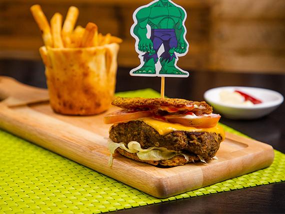 Hulk burger con papas fritas (sin gluten)