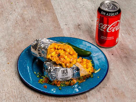 Combo personal vegetariano - Burrito vegetariano + bebida 350 ml lata + salsa a elección