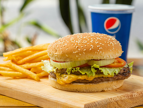 Combo 4 - Hamburguesa doble con queso + papas + soda