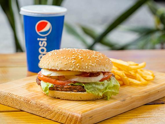 Combo 1 - Hamburguesa sencilla + papas + soda