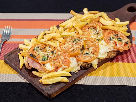 Milapizza napolitana con papas fritas