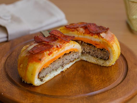 Pizza burger de pepperoni