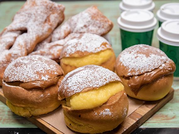 Menú 4 - 4 Café grano GYO chicos + 4 Berlines horneados + 4 Calzón roto