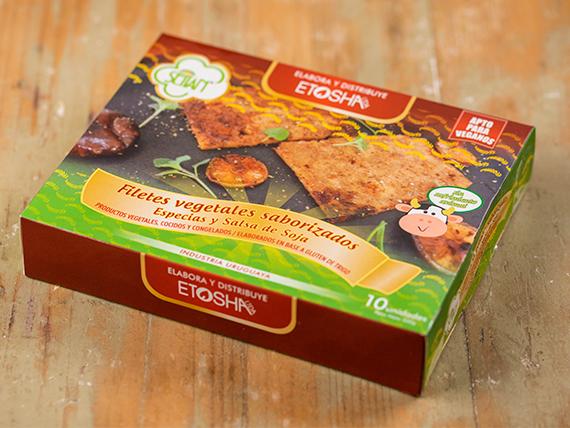 Milanesas de filetes de seitan saborizadas con ajo y perejil (caja de 10 unidades)