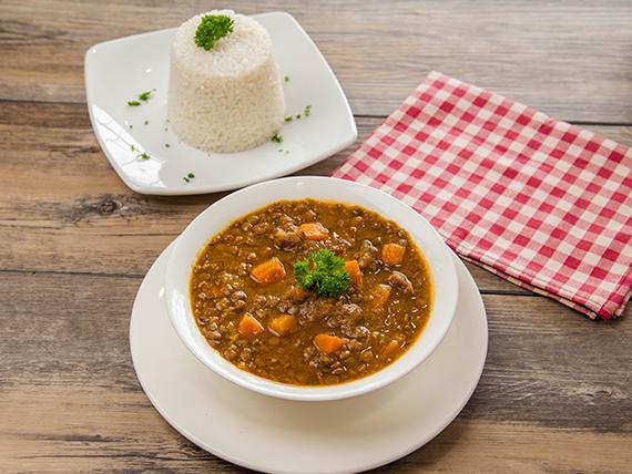 Plato del martes - Sopa de lentejas con arroz blanco 24 oz
