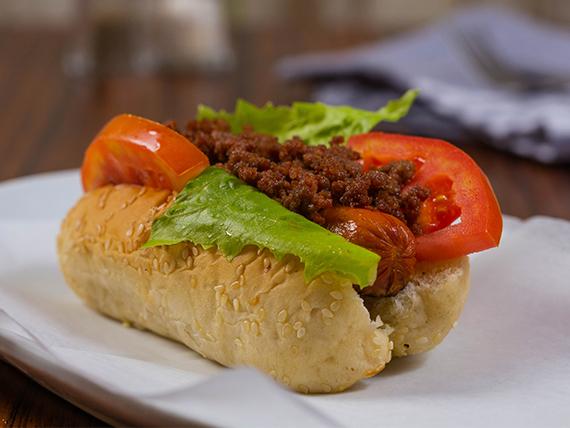 Chili dog con acompañamiento