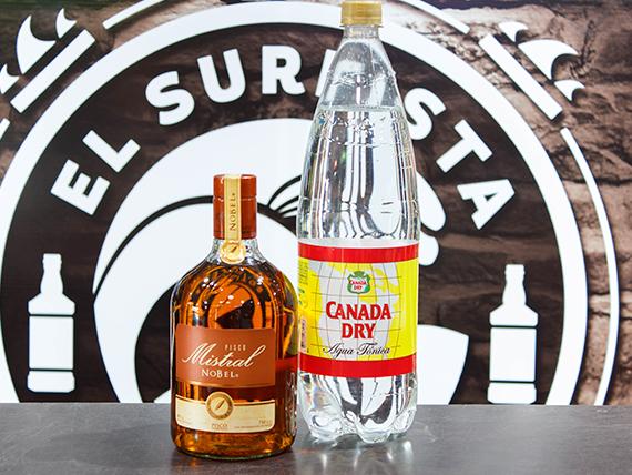 Pisco Mistral Nobel 750 ml + bebida 1,5 L + hielo 1 kg
