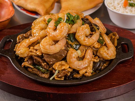 Parrillada china con camarón