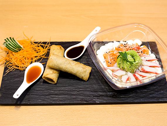 Promo 4 - 2 Harumakis + salsa tamarindo + ensaladas conbinadas de sushi con salmón rosado y surumi