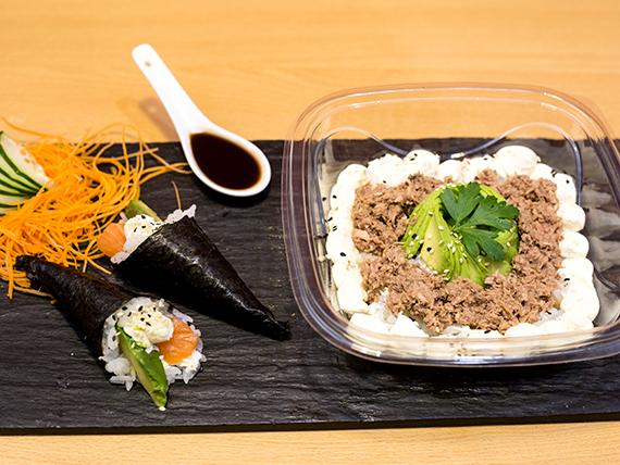Promo 5 - 2 baby temakis + salsa teriyaki con ensalada de sushi versión con atún