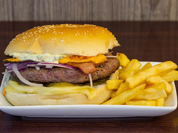 Hamburguesa Jany + papas fritas