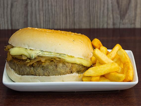 Hamburguesa vegetariana + papas fritas