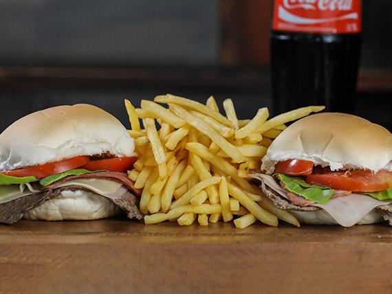 Promo 2 - 2 chivitos completos con papas fritas + Coca Cola 1 L