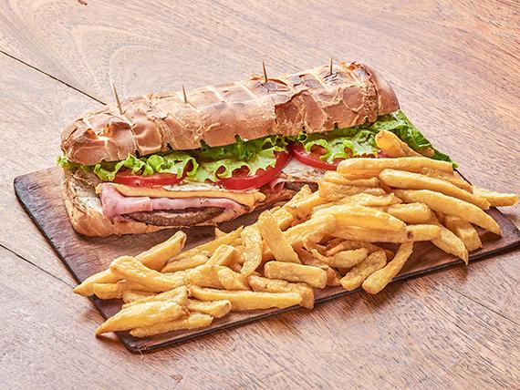 Torpedo de hamburguesa (para dos)